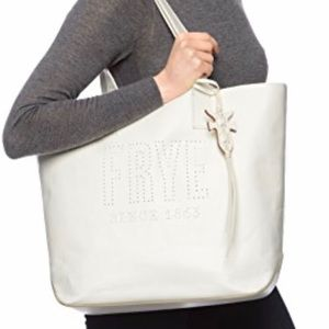 New FRYE Carson Logo Perf Leather Tote